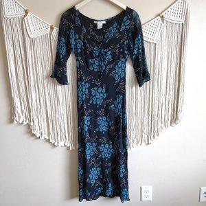 FREE PEOPLE Black Blue Floral Print Midi Dress M